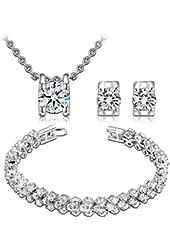 Qianse Clear AAA Zircons Necklace Earrings Bracelet Jewelry Sets Luxury Box Antiallergic