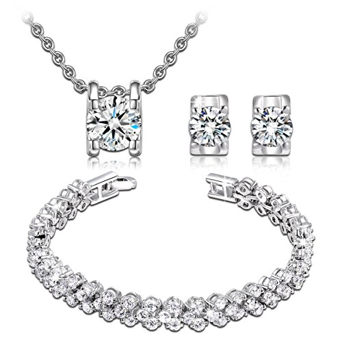 Qianse AAA Zircons Pendant Necklace Stud Earrings Tennins Bracelet Bridal Jewelry Set for women (Set Of Jewelry)