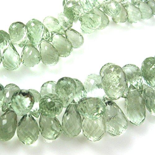 Semi Precious Gemstone Beads - Teardrop Shape -Grade AA/A Faceted Green Amethyst Gemstone Briolettes - Loose Beads ( 1 pc) (14mm) (Briolette Gemstone Teardrop)