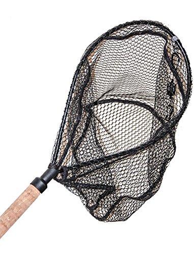 ActionSports Fishing Net / Landing Net - Rubber Coated Anti-Snag Netting - Cork Handle - Trout Fishing Net - Kayak Fishing Net - Fly Fishing (Coated Net)