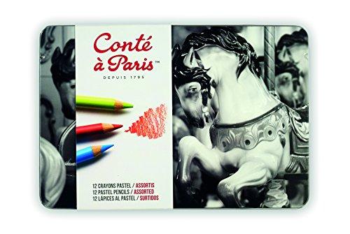 Crayons Drawing Conte (Conté à Paris Pastel Pencils with 12 Assorted Colors)
