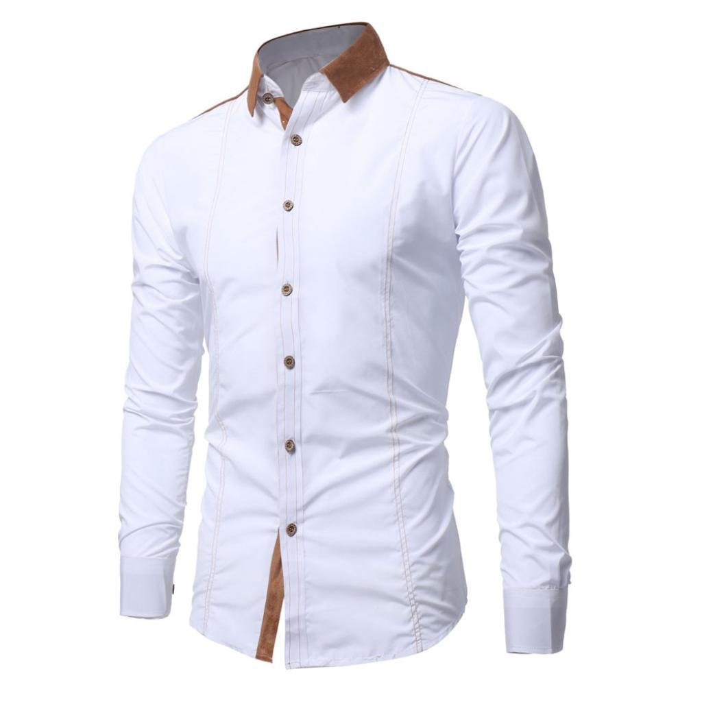 iLXHD Men Shirt Fashion Solid Color Male Casual Long Sleeve Shirt(White ,2XL) by iLXHD (Image #3)