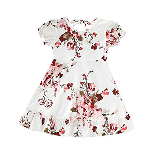 Toddle Baby Girls Floral Holiday Dress Short Sleeve Princess Party Dresses Summer Sundress (White, 1-2 Years) ()