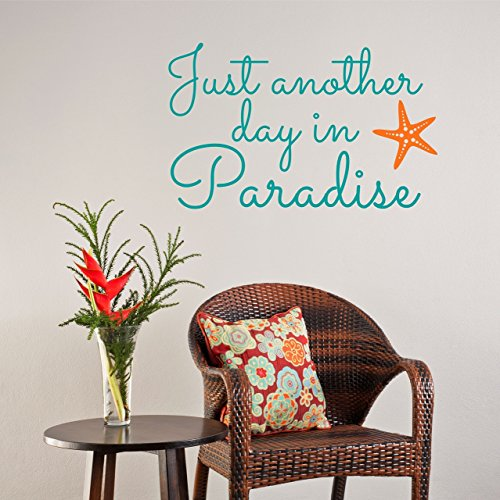 Aloha Beach Decor - Just Another Day in Paradise Vinyl Wall Decal Wall Sticker - Beach Wall Sign - Beach Paradise Aloha Palm Trees Sandy Toes Theme Custom Wall Decal Sticker