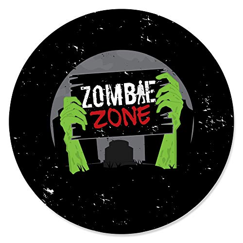 Zombie Zone - Halloween or Birthday Zombie Crawl Party Circle Sticker Labels - 24 -