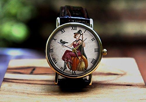 Halloween witch pumpkin witches, watch ,Custom watch,gift watch,decorative watch,Bridesmaid Watch,neutral watch,unique watch,Wedding -