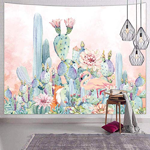 Hexagram Tropical Green Wall Tapestry for Bedroom Trippy Pink Flamingo Cactus Tapestry Wall Hanging Colorful Mandala Winter Tapestries Small Wall Decor