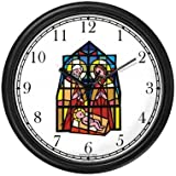 The Christ Child, Mary & Joseph (Stained Glass) No.1 Christian Theme Wall Clock by WatchBuddy Timepieces (Hunter Green Frame)