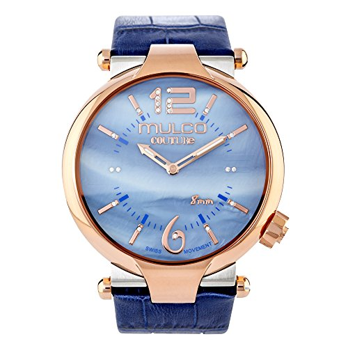 Mulco Couture Ladies Slim Quartz Slim Analog Swiss Movement Women's Watch | Mother of Pearl and Swarovski Sundial with Rose Gold Accents | Blue Watch Band | Water Resistant MW5-4234-043