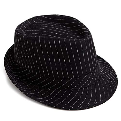 ASO-SLING Men's Fedora Hat Pinstripe Houndstooth Stingy Short Brim Gangster Cuban Style Hats Jazz Cap Black