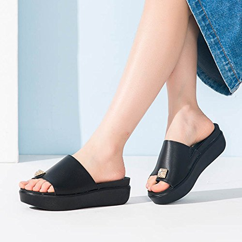Black with Flat Slippers Slippers Bottomed Summer FP1w7xqTn