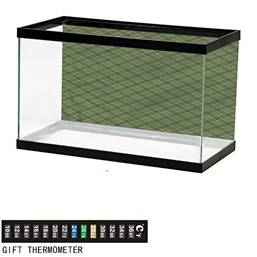 bybyhome Fish Tank Backdrop Green,Old Fashioned Argyle Pattern,Aquarium Background,36