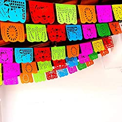 5 Pk Cinco de Mayo Party Decorations, Papel Picado Banner, 60 ft Long, Multicolored tissue PAPER garland, Mexican Decorations, Weddings, Quinceaneras, Birthdays, Fiesta party supplies, 5 de Mayo WS100