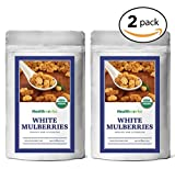 Healthworks White Mulberries Sun-Dried Organic, 1lb (2 8oz Packs)