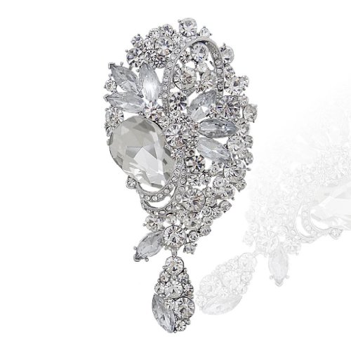 EVER FAITH Teardrop Bouquet Bridal Brooch Pendant Clear Austrian Crystal Silver-Tone N03202-1