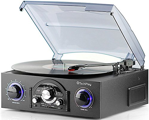 TechPlay TCP5 Turntable with pitch control, AM/FM Radio, SD USB ports,RCA Out Jacks, Headphone Jack, AUX input and Built-in stereo speakers with LED