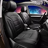 FH Group Leatherette Black Car Seat Cushions PU208BLACK102 Set of 2 Airbag Compatible