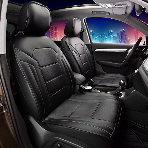 Nissan Frontier Leather Seats - FH Group Leatherette Black Car Seat Cushions PU208BLACK102 Set of 2 Airbag Compatible