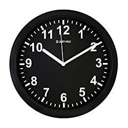 JustNile 10 Silent Sweep Movement Classic Black and White Color Wall Clock