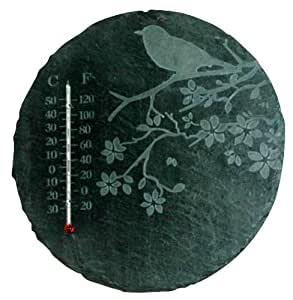 Nach Es-ls211 Slate Mounted Thermometer, Bird And Tree, Round