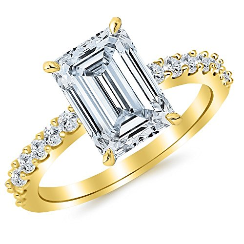 0.51 Ct Emerald Cut Diamond (14K Yellow Gold 0.94 CTW Classic Prong Set Diamond Engagement Ring w/ 0.51 Ct GIA Certified Emerald Cut F Color VVS2 Clarity Center)
