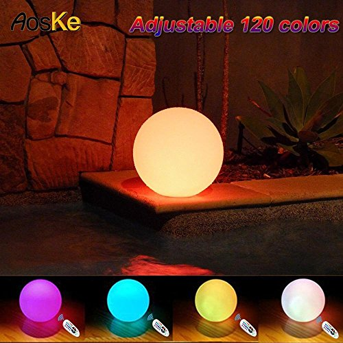 (AosKe 9.5-Inch Floating  Waterproof LED Pool Light Orb Balls Glow Lighting Inodoor Outdoor Color Changing Led  Ball Lights Decor Party Light for Swimming Pool, Patio, Lawn, Hot Tubs,)