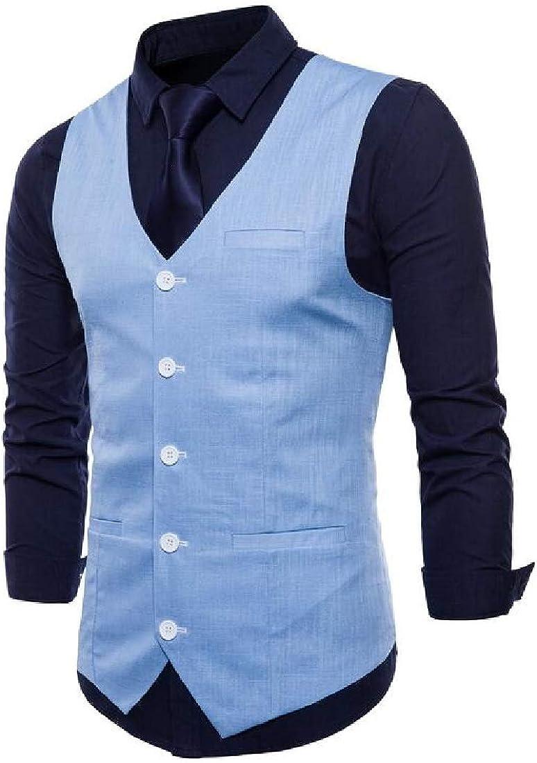 ainr Mens V-Neck Sleeveless Slim Fit Vest Jacket Fashion Single-Breasted Suit Dress Vests