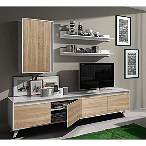 Mobile soggiorno TV Rovere e Bianco di 200 x 40.7 cm di motivo ...