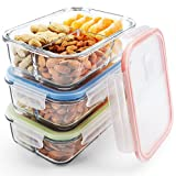 Glass Meal Prep Containers 3 Compartment, MCIRCO Food Storage Container Set with Airtight Locking Lids - Portion Control - Microwave, Freezer, Oven & Dishwasher Safe - BPA Free Containers