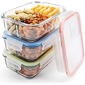 Glass 3 Compartment Food Containers