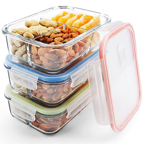 Glass Meal Prep Containers 3 Compartment, MCIRCO Food Storage Container Set with Airtight Locking Lids - Portion Control - Microwave, Freezer, Oven & Dishwasher Safe - BPA Free Containers ¡­