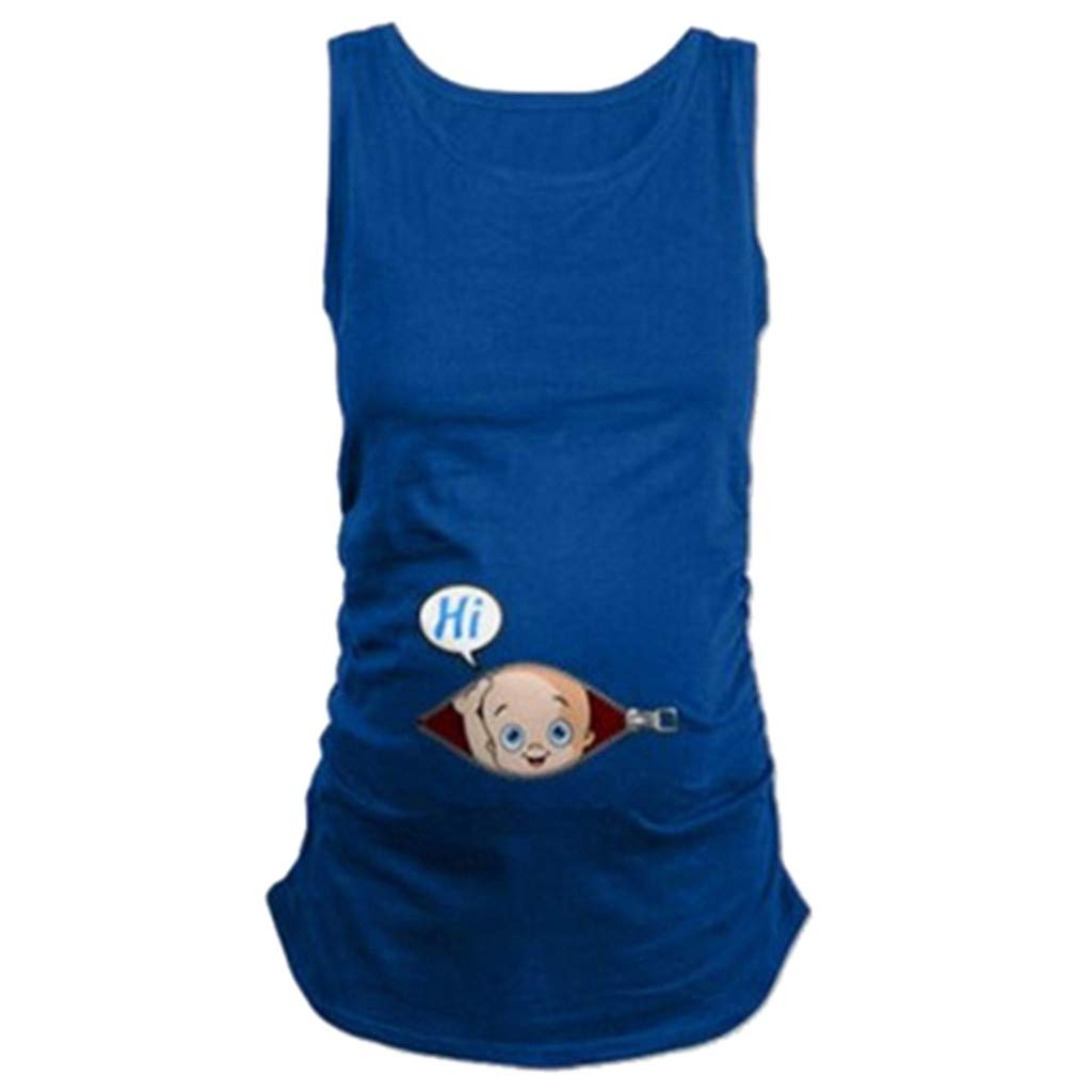 Pregnancy Shirt Heart,Pregnant Cute Kid Pattern Vest Maternity Shirt Sleeveless T-Shirt Pregnant Tops,Sweatshirts,Black,XXL