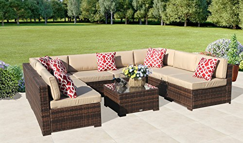 PATIOROMA Outdoor Furniture Sectional Sofa Set (9 Piece Set) All Weather  Brown