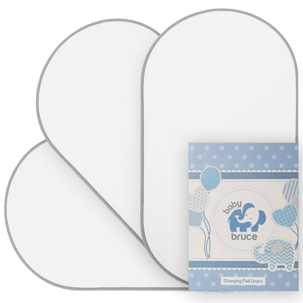Waterproof Changing Pad Liners, Soft Bamboo Terry with Padded Backing - 3 Pack - White by Baby Bruce