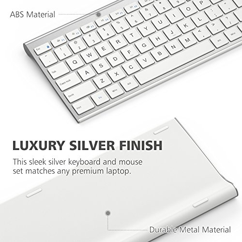 iClever GK03 Wireless Keyboard and Mouse Combo - 2.4G Portable Wireless Keyboard Mouse, Rechargeable Battery Ergonomic Design Full Size Slim Thin Stable Connection Adjustable DPI, Silver and White by iClever (Image #2)