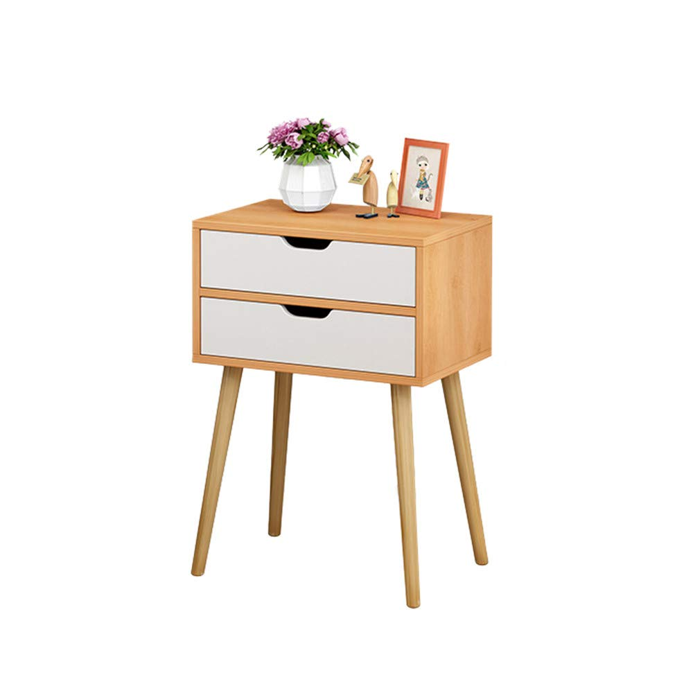 WONdere Cabinet Bedroom Bedside Table Solid Wood Legs Nightstand with White Storage Drawer (Nordic pine color)