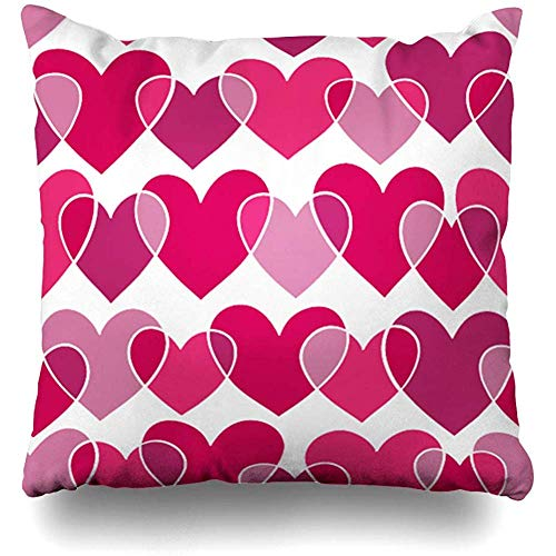 Decorative Throw Pillow Covers Drawing Red Valentine Pink Doodling Sketch Polka Day Holidays Doodle February Hand Youth Home Decor Square Size 18 x 18 Inch Zippered Cushion Case