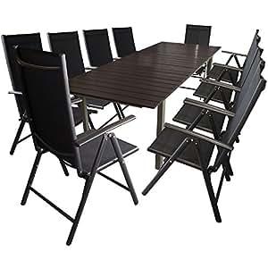 Juego de mesas y sillas para jardín (11 piezas, aluminio, madera sintética, 200/250 x 95 cm, 10 tumbonas, 2x1, tela, regulable en 7 posiciones)