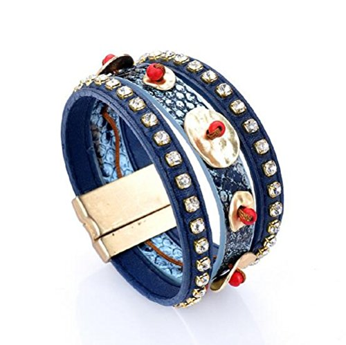 [Yuriao Jewelry Fashion Vintage Tribal Wide Leather Bracelet(blue)] (Easy Homemade Panda Costumes)