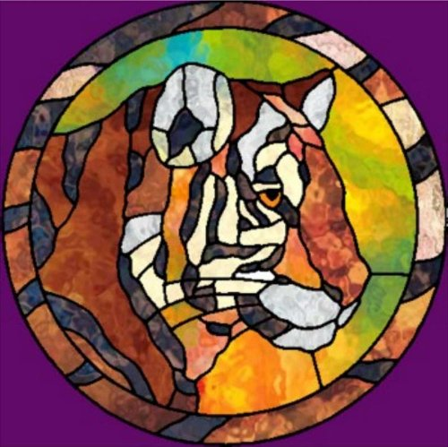 - Stained Glass Portrait of a Tiger - Etched Vinyl Stained Glass Film, Static Cling Window Decal