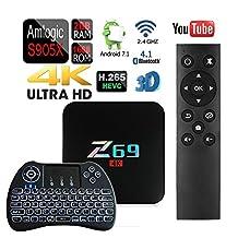 APTC Octa Core Z69 1080p 4K 3D Android 7.1 Amlogic S905X Wifi 16GB/2GB Bluetooth 4.1 TV Box+Backlit Wireless Keyboard Remote Control