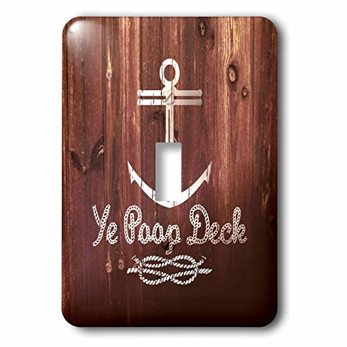 3dRose LSP_262172_1 Ye Poop Deck- Funny Anchor Design on Brown Effect- Not Real Wood Toggle Switch, Mixed