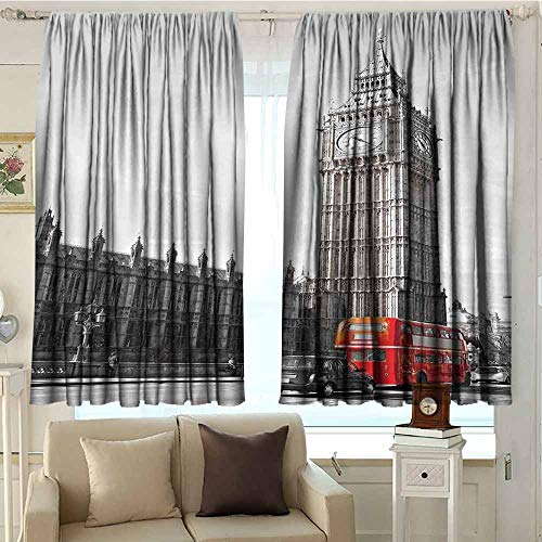 DuckBaby London Extra Long Curtain Big Ben Tower Begining of Westminster Bridge with Black Cab and Red Bus Image Thermal Insulated Block Out Sunlight Shade W72 xL63 Grey Black Red