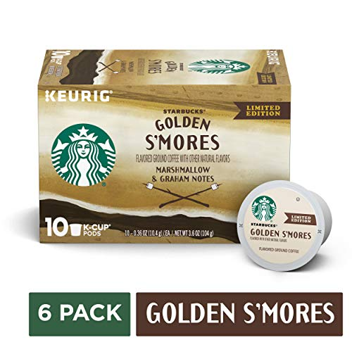 Golden Cup Coffee - Starbucks Golden S'mores Flavored Blonde Roast Single-Cup Coffee for Keurig Brewers, six 3.6-oz. boxes of 10 (total net weight 1.37 LB / 60 total K-Cup pods)