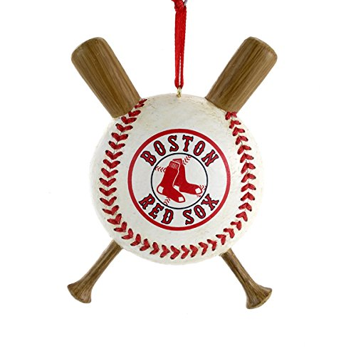 Boston Red Sox Baseball and Crossed Bats Christmas Ornament Decoration MLB (Christmas Red Ornament Sox)