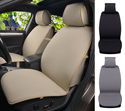 180503 Tan Semi Custom 2 Front Car Seat Covers, for Car, Truck, SUV or Van, Breathable Poly Cotton & 1.5cm Cushion Pad, Non-slip, Air Bag & Side Armrest Compatible to Toyota Tacoma 2018 2017-2007