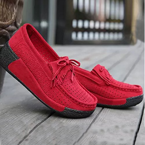 Z.SUO Women's Casual Comfortable Suede Loafers Wedge Thick Heel Pumps Shoes Red S0OlGW