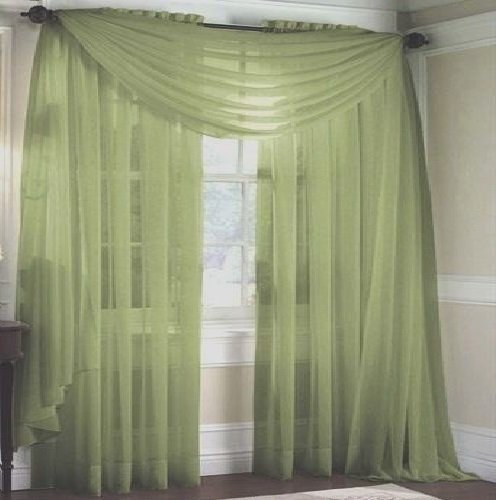 MONAGIFTS SAGE GREEN Scarf Voile Window Panel Solid sheer valance curtains 216
