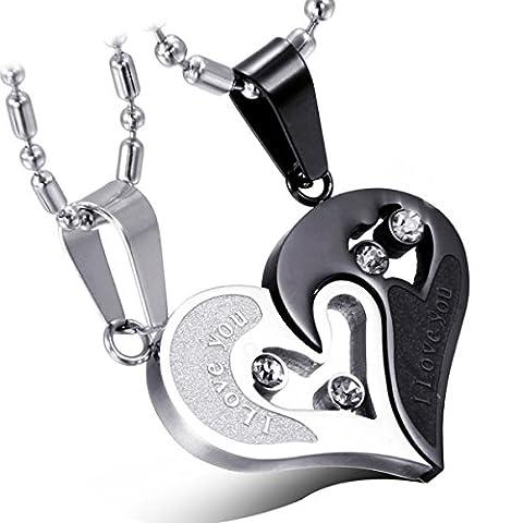 Cupimatch 2-Piece Stainless Steel Couple Necklace Rhinestone