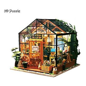 Ecent 3d Holz Puzzle Diy Kreative Gewachshaus Haus Spielzeug